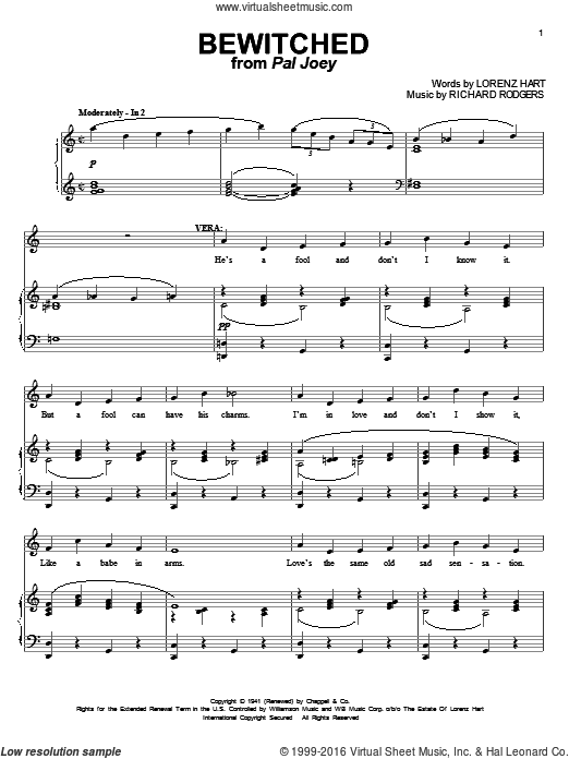 Bewitched sheet music for voice and piano by Richard Rodgers