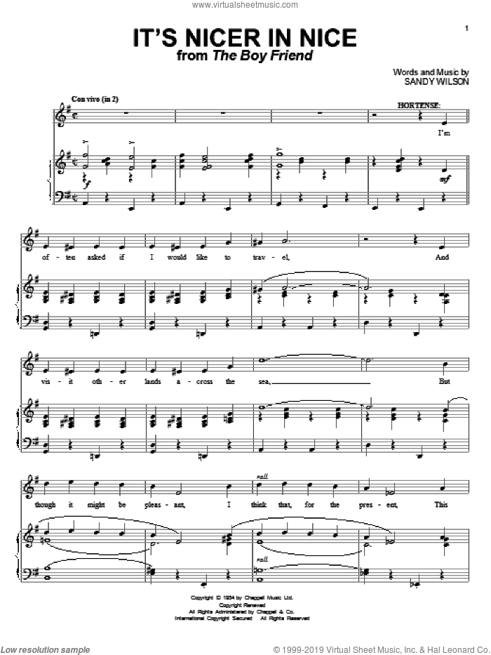It's Nicer In Nice sheet music for voice and piano by Sandy Wilson, intermediate skill level