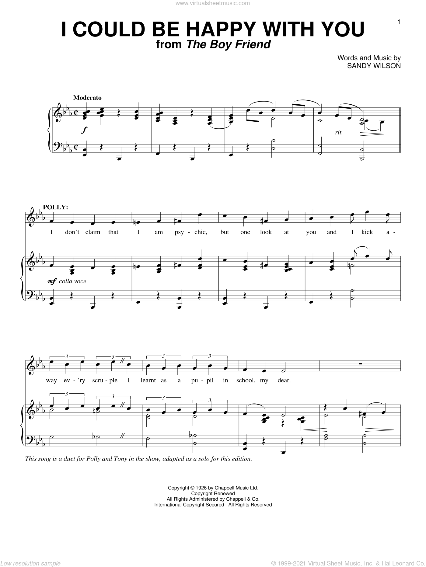 I Could Be Happy With You sheet music for voice and piano by Sandy Wilson, intermediate skill level