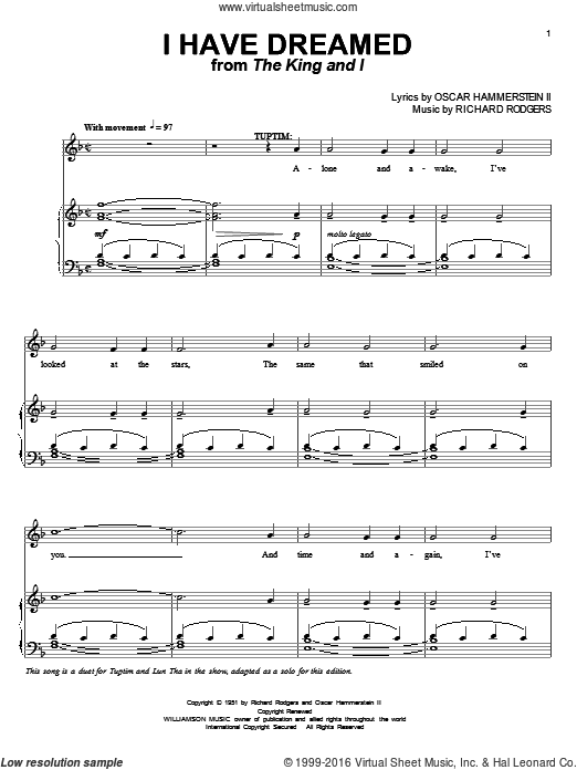 I Have Dreamed sheet music for voice and piano by Richard Rodgers, Rodgers & Hammerstein and Oscar II Hammerstein. Score Image Preview.