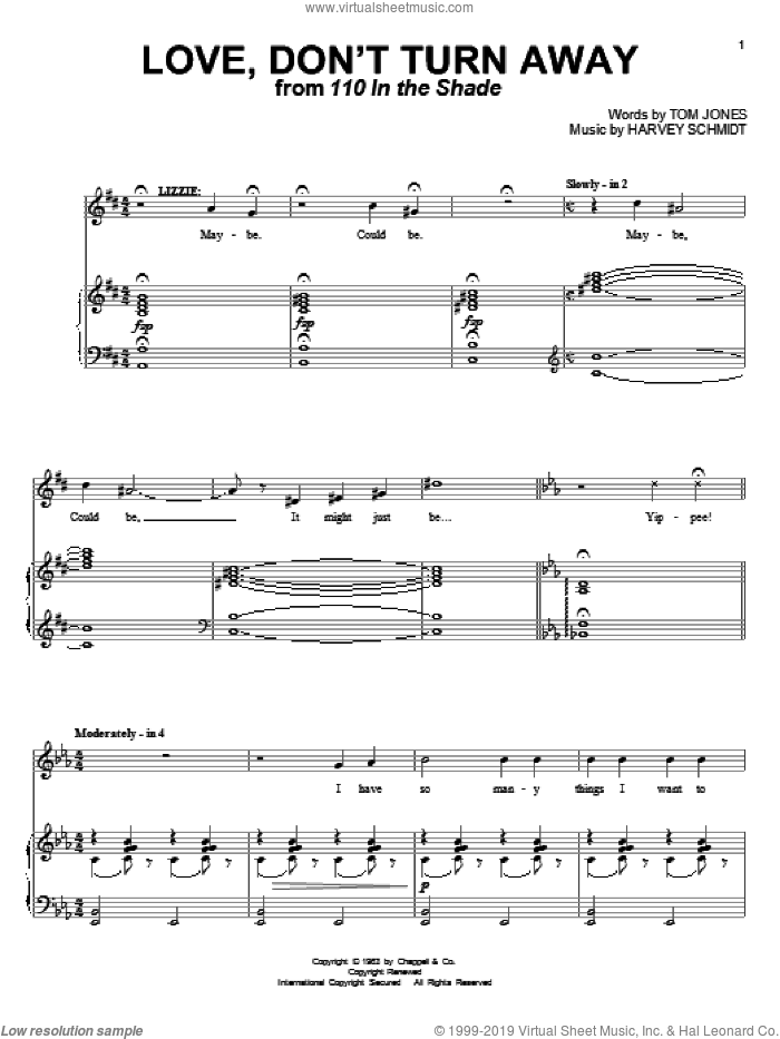 Love, Don't Turn Away sheet music for voice and piano by Tom Jones and Harvey Schmidt, intermediate skill level