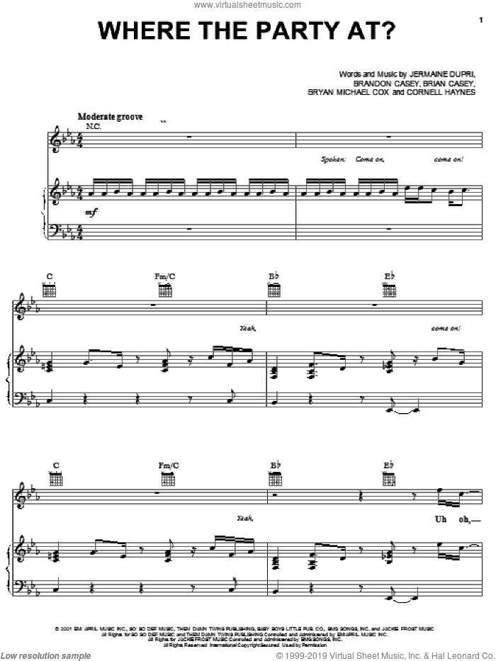 Where The Party At sheet music for voice, piano or guitar by Bryan Michael Cox