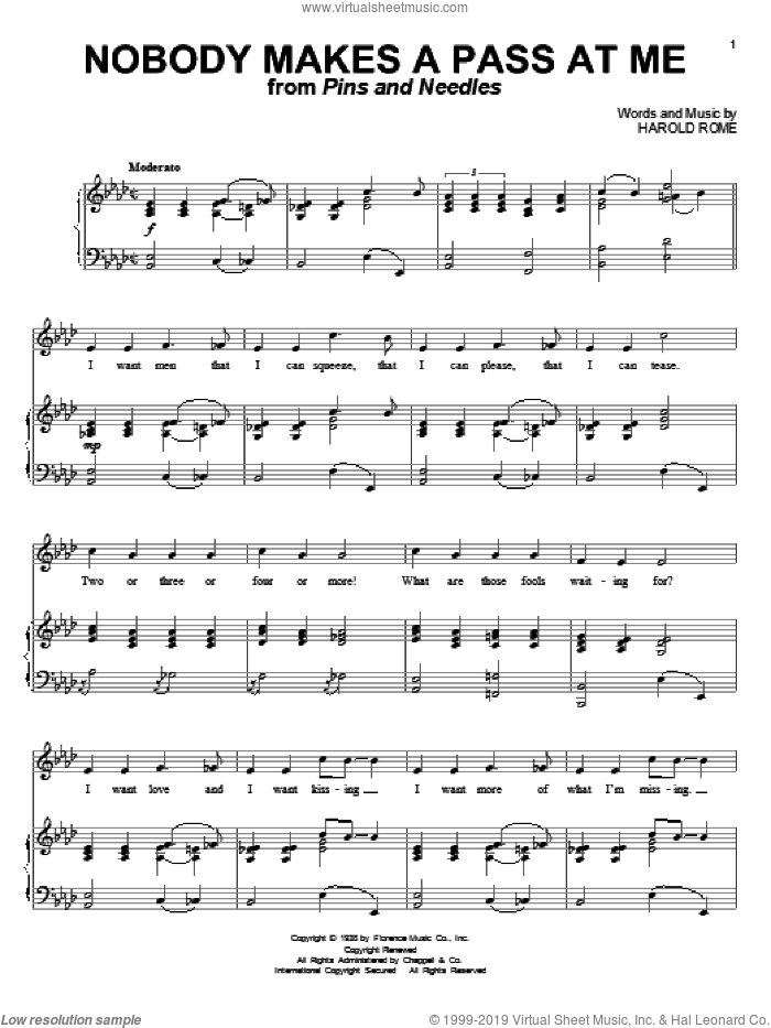 Nobody Makes A Pass At Me sheet music for voice and piano by Harold Rome