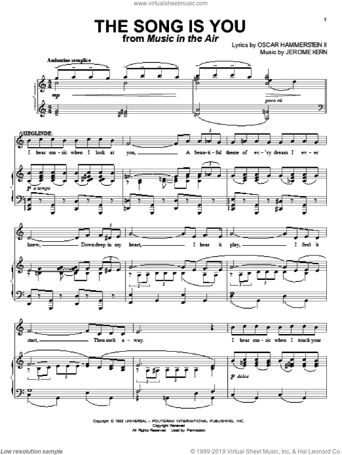 The Song Is You sheet music for voice and piano by Jerome Kern and Oscar II Hammerstein, intermediate skill level
