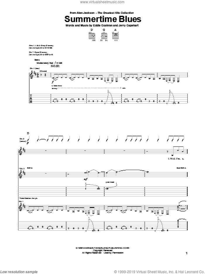 Summertime Blues sheet music for guitar (tablature) by Alan Jackson, Eddie Cochran and Jerry Capehart, intermediate skill level