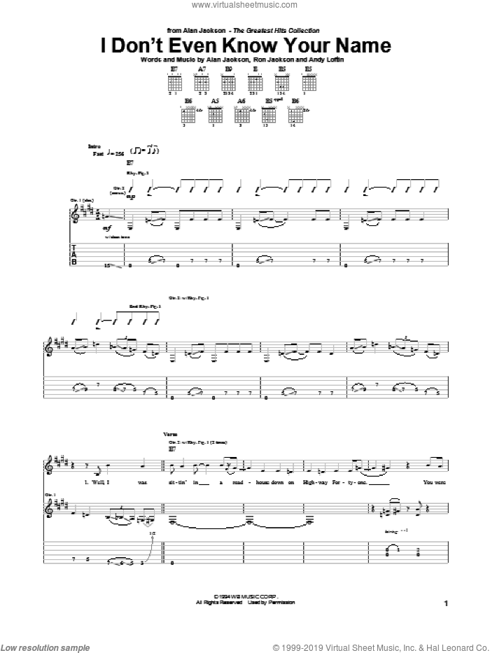 I Don't Even Know Your Name sheet music for guitar (tablature) by Alan Jackson, Andy Loftin and Ron Jackson, intermediate skill level