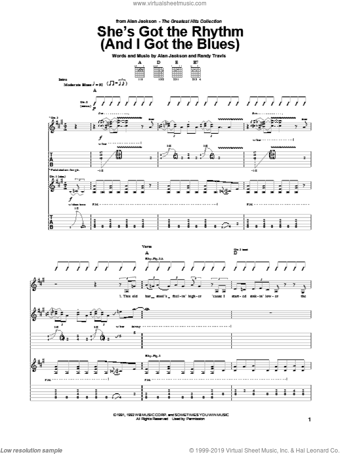 She's Got The Rhythm (And I Got The Blues) sheet music for guitar (tablature) by Alan Jackson and Randy Travis, intermediate skill level