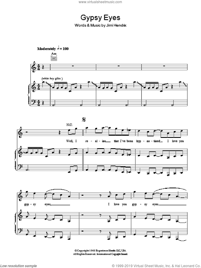 Gypsy Eyes sheet music for voice, piano or guitar by Jimi Hendrix, intermediate skill level