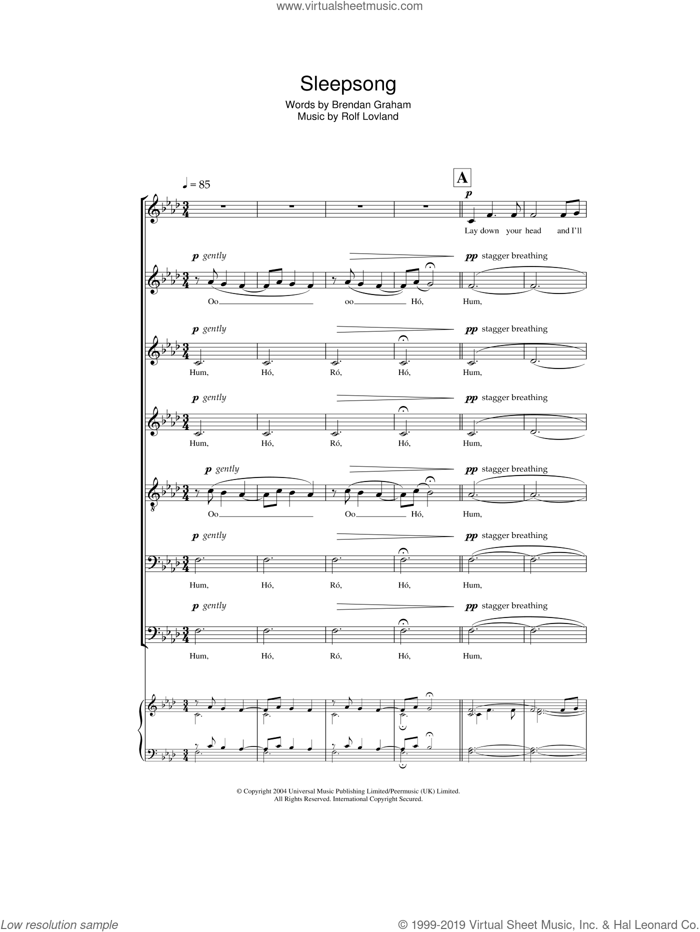 Sleepsong sheet music for choir by Secret Garden, Brendan Graham, Rolf Løvland and Rolf Lovland, intermediate skill level