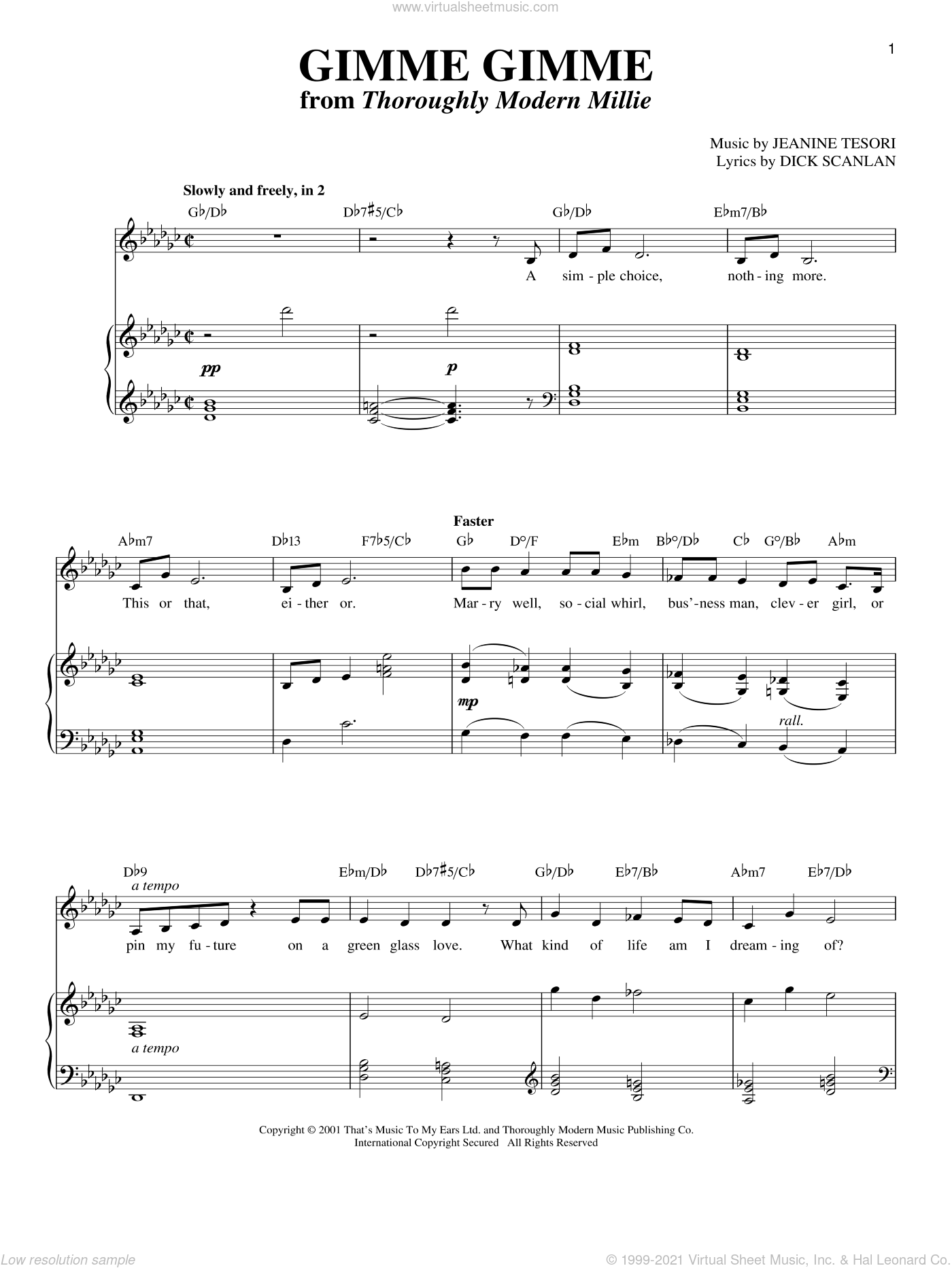 Gimme Gimme sheet music for voice and piano by Jeanine Tesori and Dick Scanlan. Score Image Preview.
