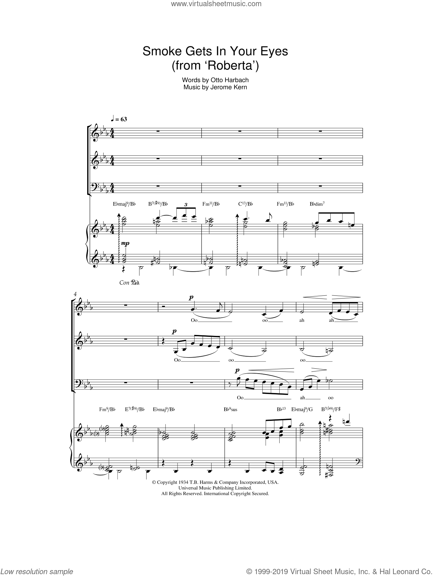 Smoke Gets In Your Eyes (from Roberta) sheet music for voice, piano or guitar by Otto Harbach and Jerome Kern. Score Image Preview.
