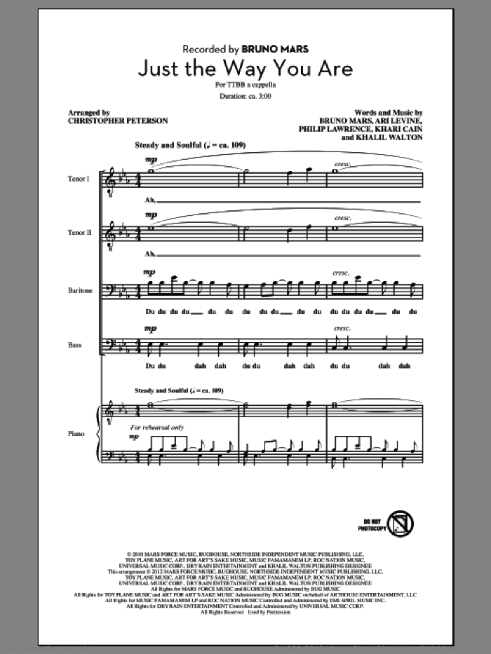 Just The Way You Are sheet music for choir (TTBB: tenor, bass) by Bruno Mars, intermediate. Score Image Preview.