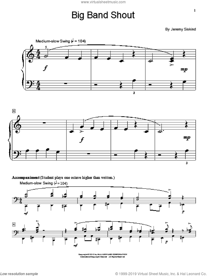 Big Band Shout sheet music for piano solo (elementary) by Jeremy Siskind and Miscellaneous, beginner piano (elementary). Score Image Preview.