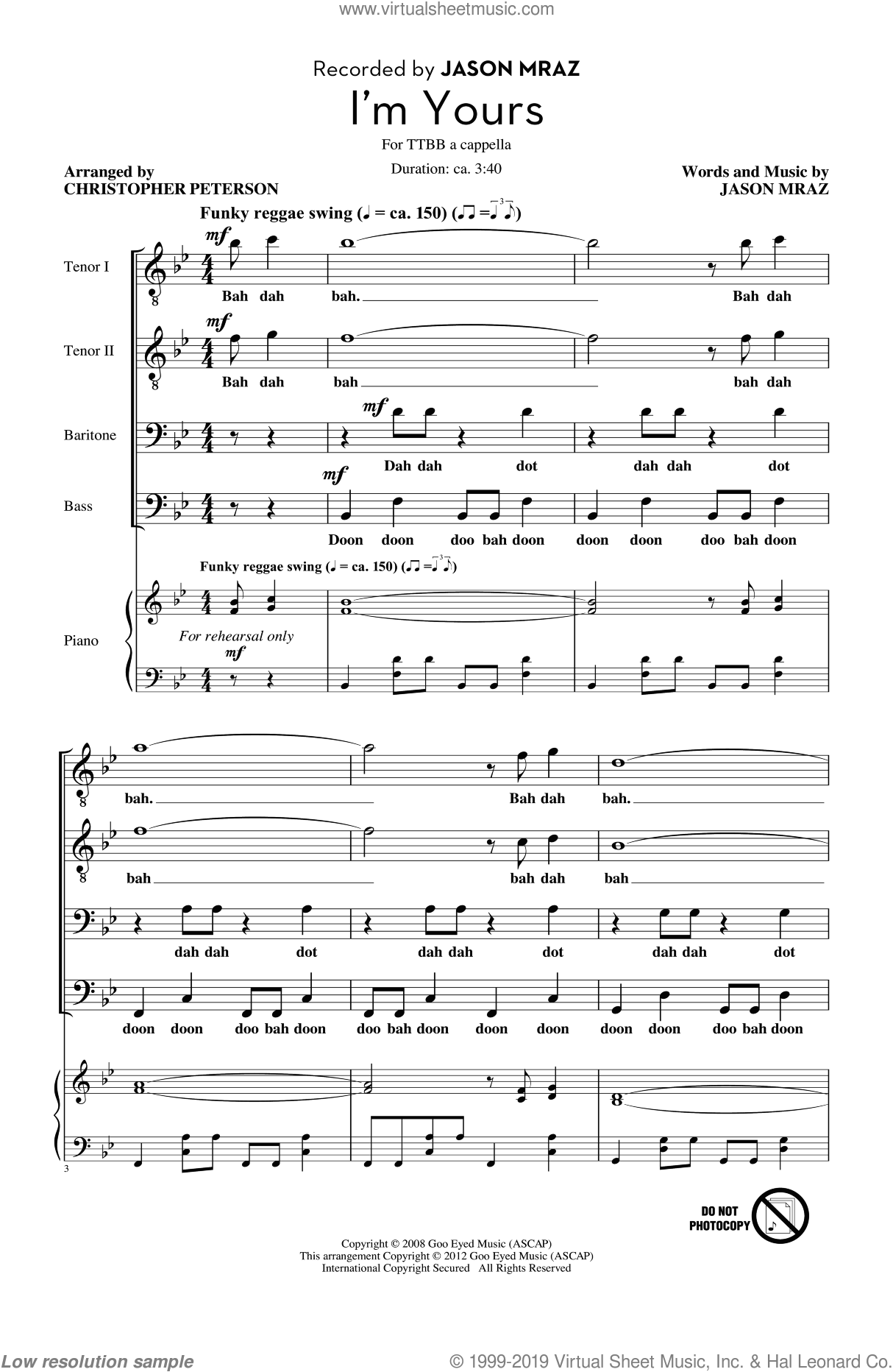 I'm Yours sheet music for choir (tenor voice, bass voice, choir) by Jason Mraz. Score Image Preview.