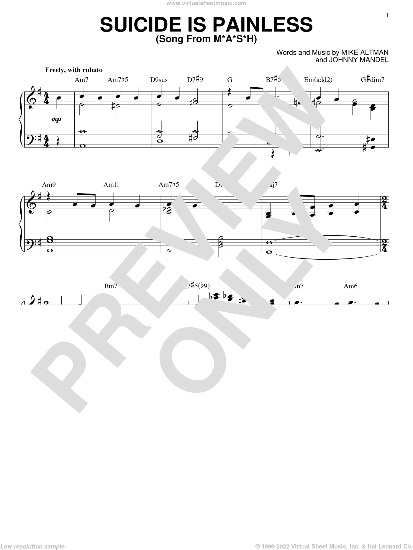 Suicide Is Painless (from M.A.S.H.) sheet music for piano solo by Bill Evans, Johnny Mandel and Mike Altman, intermediate skill level