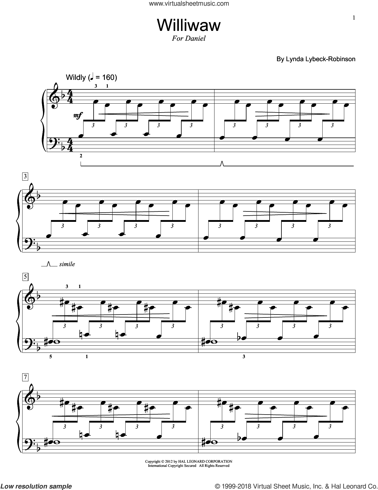 Williwaw sheet music for piano solo (elementary) by Lynda Lybeck-Robinson