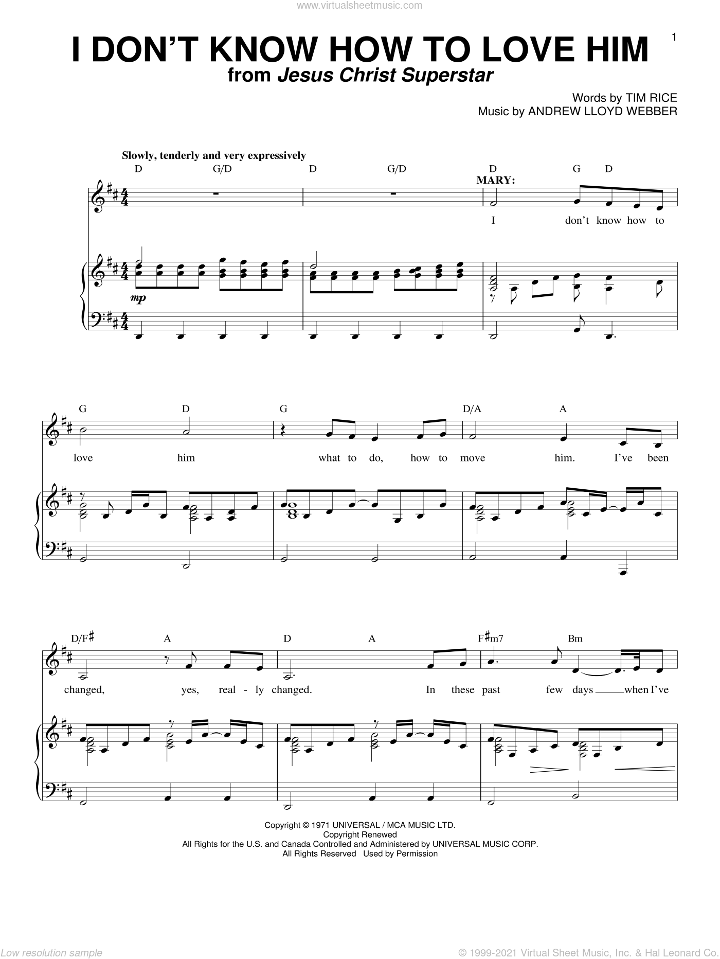 I Don't Know How To Love Him sheet music for voice and piano by Tim Rice