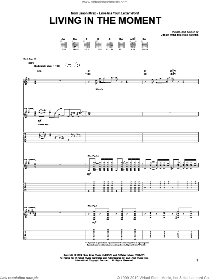 Living In The Moment sheet music for guitar (tablature) by Jason Mraz and Rick Nowels, intermediate guitar (tablature). Score Image Preview.
