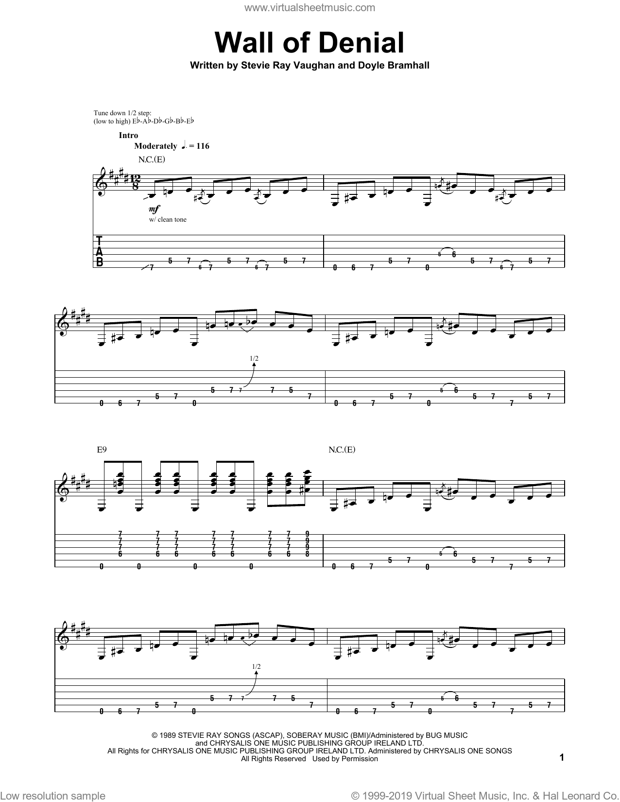 Wall Of Denial sheet music for guitar (tablature, play-along) by Stevie Ray Vaughan and Doyle Bramhall. Score Image Preview.