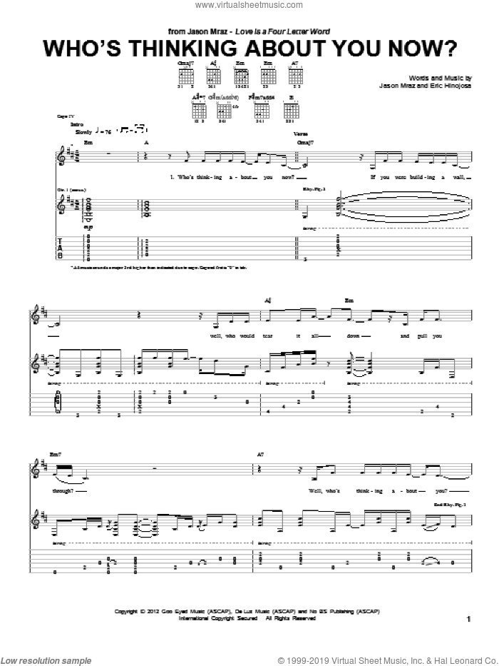 Who's Thinking About You Now? sheet music for guitar (tablature) by Eric Hinojosa and Jason Mraz. Score Image Preview.