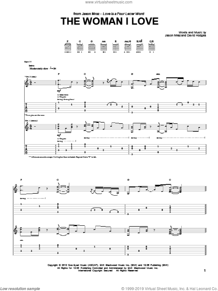 The Woman I Love sheet music for guitar (tablature) by David Hodges and Jason Mraz. Score Image Preview.