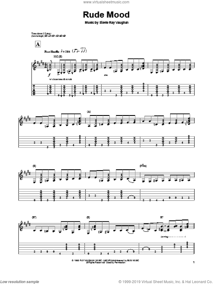 Rude Mood sheet music for guitar (tablature, play-along) by Stevie Ray Vaughan, intermediate