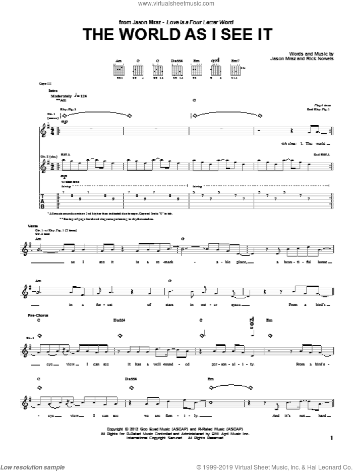 The World As I See It sheet music for guitar (tablature) by Rick Nowels and Jason Mraz. Score Image Preview.
