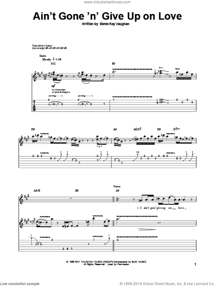 Ain't Gone 'N' Give Up On Love sheet music for guitar (tablature, play-along) by Stevie Ray Vaughan, intermediate. Score Image Preview.