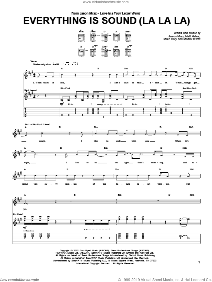 Everything Is Sound (La La La) sheet music for guitar (tablature) by Jason Mraz, Martin Terefe, Matt Hales and Mike Daly, intermediate skill level