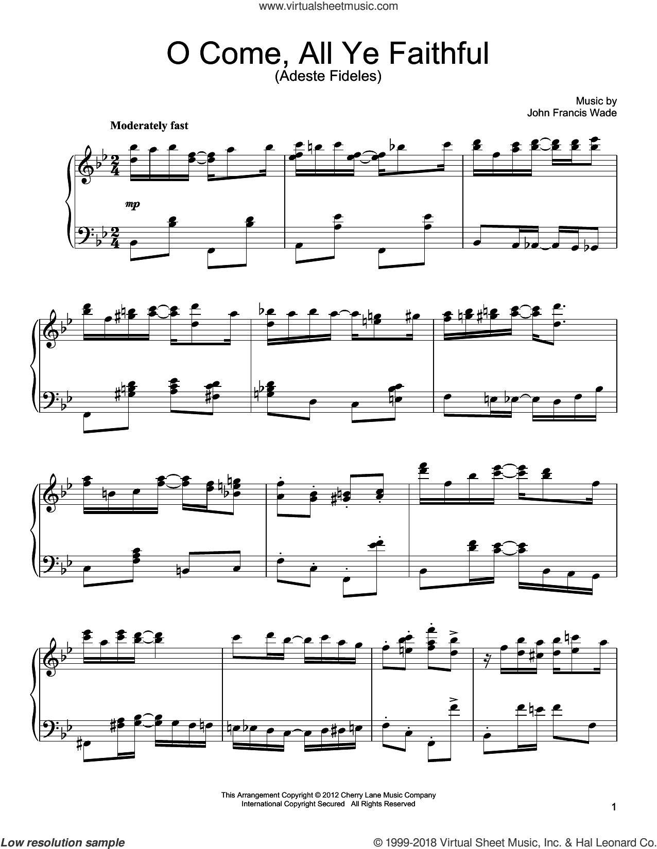 O Come, All Ye Faithful (Adeste Fideles) [Ragtime version] sheet music for piano solo by John Francis Wade, intermediate skill level