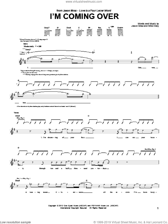 I'm Coming Over sheet music for guitar (tablature) by Mike Daly and Jason Mraz. Score Image Preview.