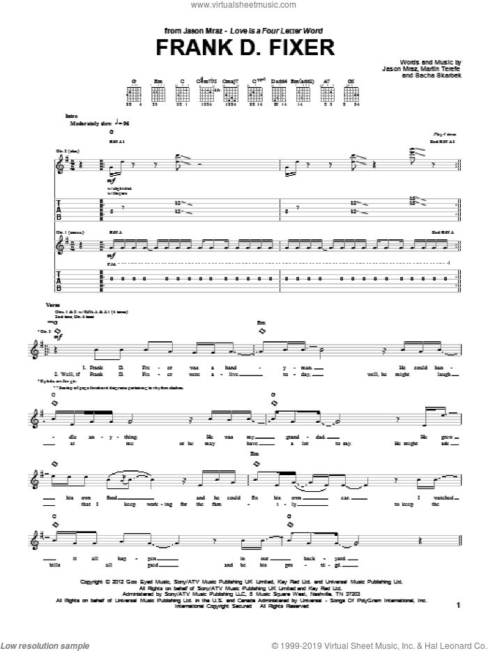 Frank D Fixer sheet music for guitar (tablature) by Sacha Skarbek, Jason Mraz and Martin Terefe