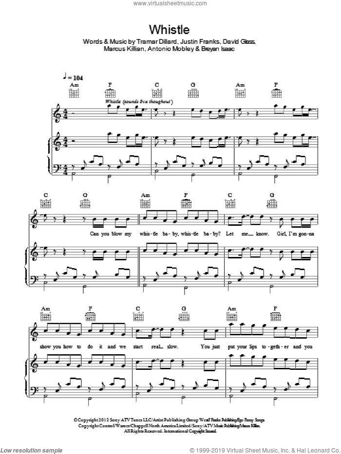 Whistle sheet music for voice, piano or guitar by Flo Rida, Breyan Isaac and Justin Franks, intermediate. Score Image Preview.