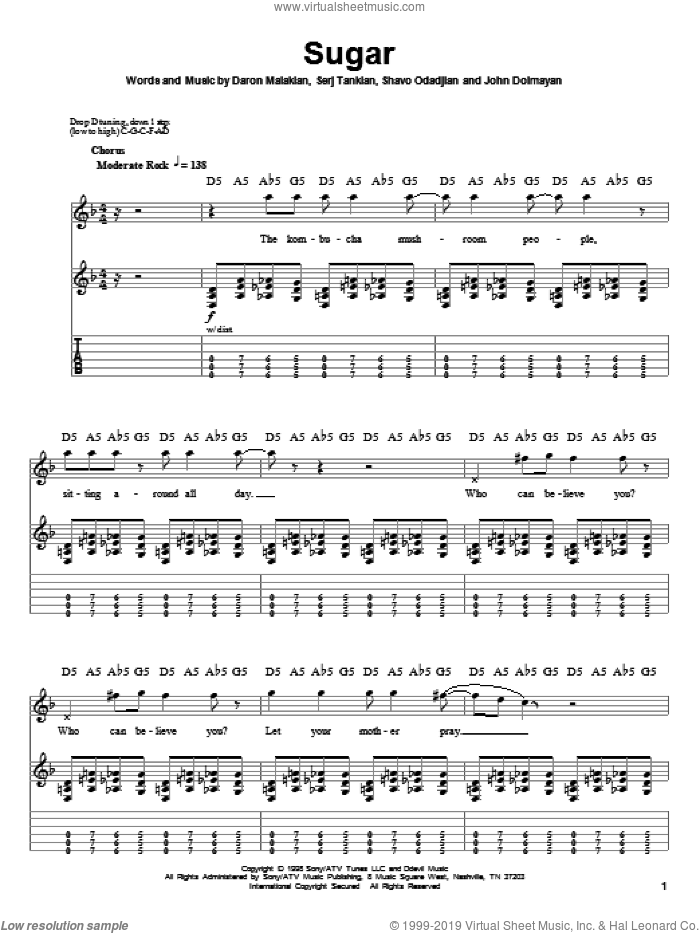 Sugar sheet music for guitar (tablature, play-along) by Shavo Odadjian, System Of A Down and Serj Tankian. Score Image Preview.