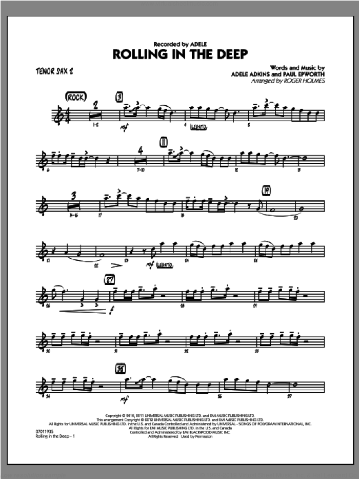 Rolling in the Deep sheet music for jazz band (tenor sax 2) by Adele, Adele Adkins, Paul Epworth and Roger Holmes, intermediate skill level