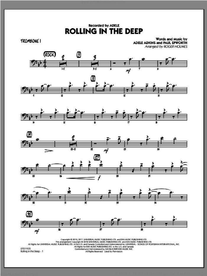 Rolling in the Deep sheet music for jazz band (trombone 1) by Adele, Adele Adkins, Paul Epworth and Roger Holmes, intermediate skill level