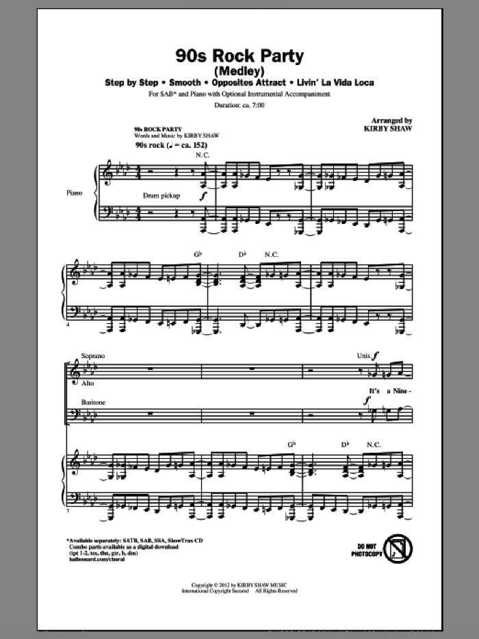 90's Rock Party (Medley) sheet music for choir and piano (SAB) by Kirby Shaw. Score Image Preview.
