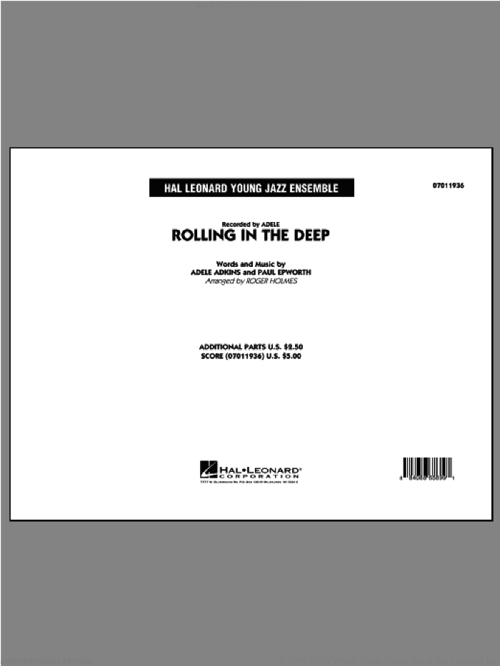 Rolling In The Deep (COMPLETE) sheet music for jazz band by Adele, Paul Epworth and Roger Holmes, intermediate. Score Image Preview.