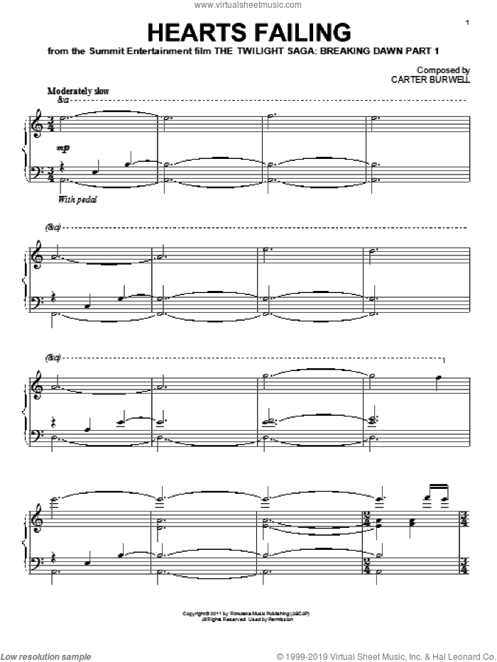 Hearts Failing sheet music for piano solo by Carter Burwell and Twilight: Breaking Dawn Part 1 (Movie), intermediate skill level