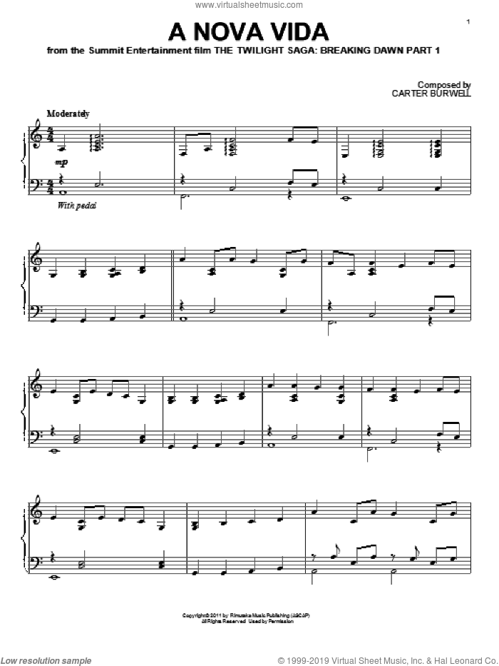 A Nova Vida sheet music for piano solo by Carter Burwell and Twilight: Breaking Dawn Part 1 (Movie), intermediate skill level