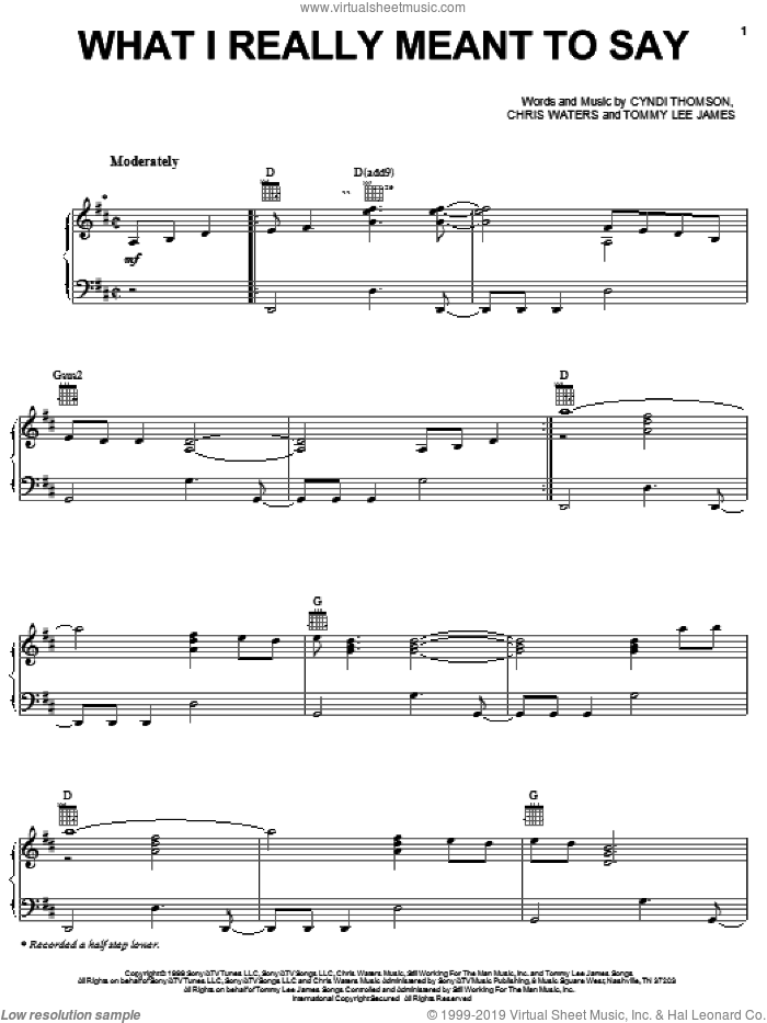 What I Really Meant To Say sheet music for voice, piano or guitar by Cyndi Thomson, Chris Waters and Tommy Lee James, intermediate skill level
