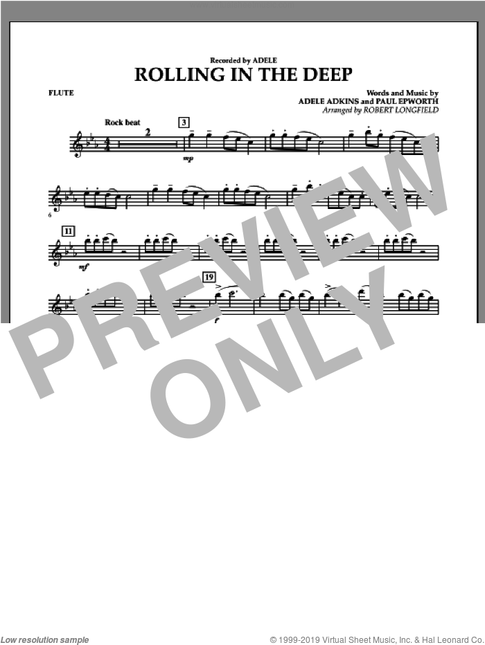 Rolling in the Deep sheet music for concert band (flute) by Adele, Paul Epworth and Robert Longfield, intermediate concert band (flute). Score Image Preview.