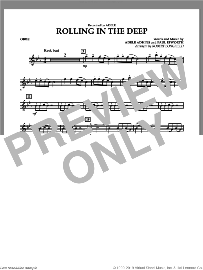 Rolling in the Deep sheet music for concert band (oboe) by Paul Epworth, Adele, Adele Adkins and Robert Longfield. Score Image Preview.