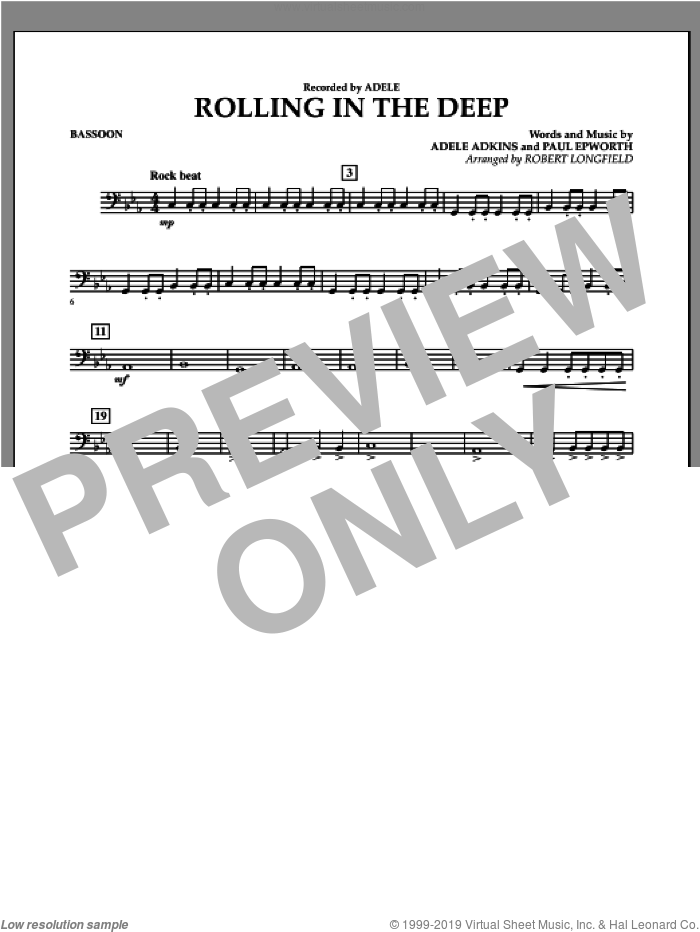 Rolling in the Deep sheet music for concert band (bassoon) by Adele, Paul Epworth and Robert Longfield. Score Image Preview.