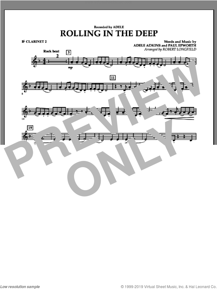 Rolling in the Deep sheet music for concert band (Bb clarinet 2) by Adele, Adele Adkins, Paul Epworth and Robert Longfield, intermediate skill level