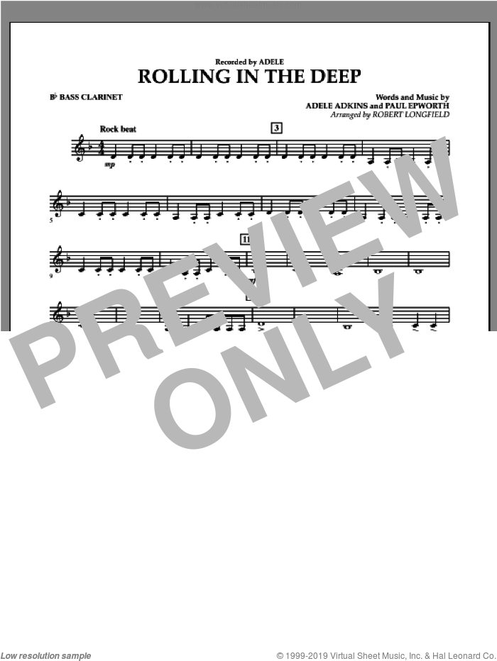 Rolling in the Deep sheet music for concert band (Bb bass clarinet) by Adele, Adele Adkins, Paul Epworth and Robert Longfield, intermediate skill level