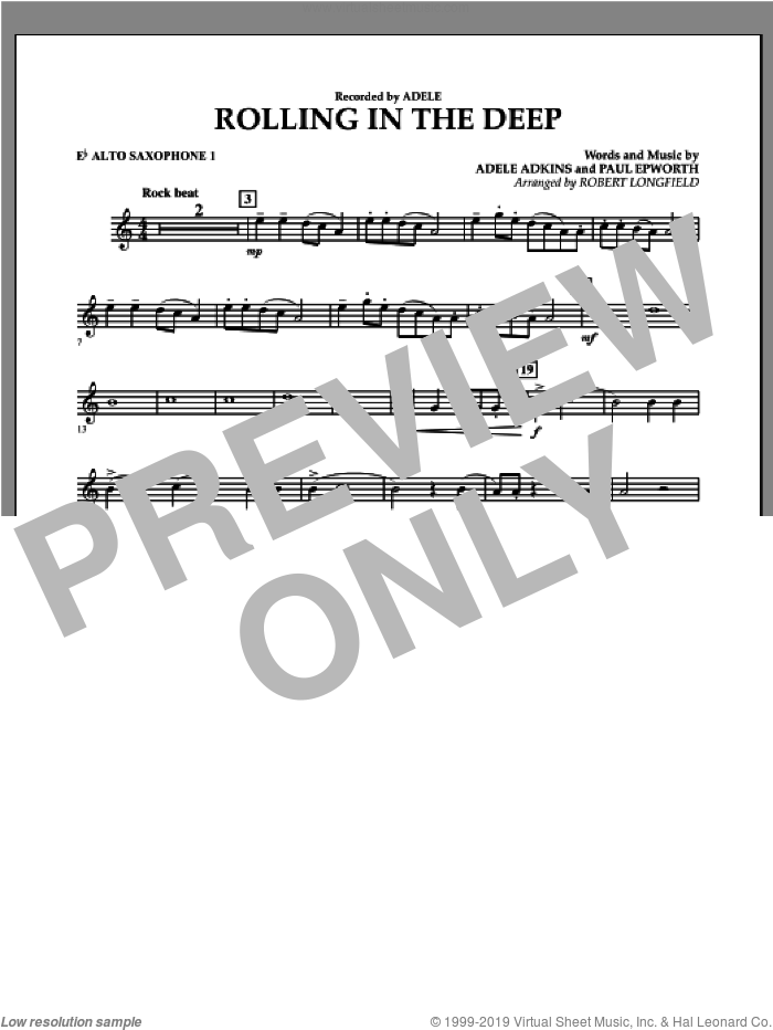Rolling in the Deep sheet music for concert band (Eb alto saxophone 1) by Adele, Adele Adkins, Paul Epworth and Robert Longfield, intermediate