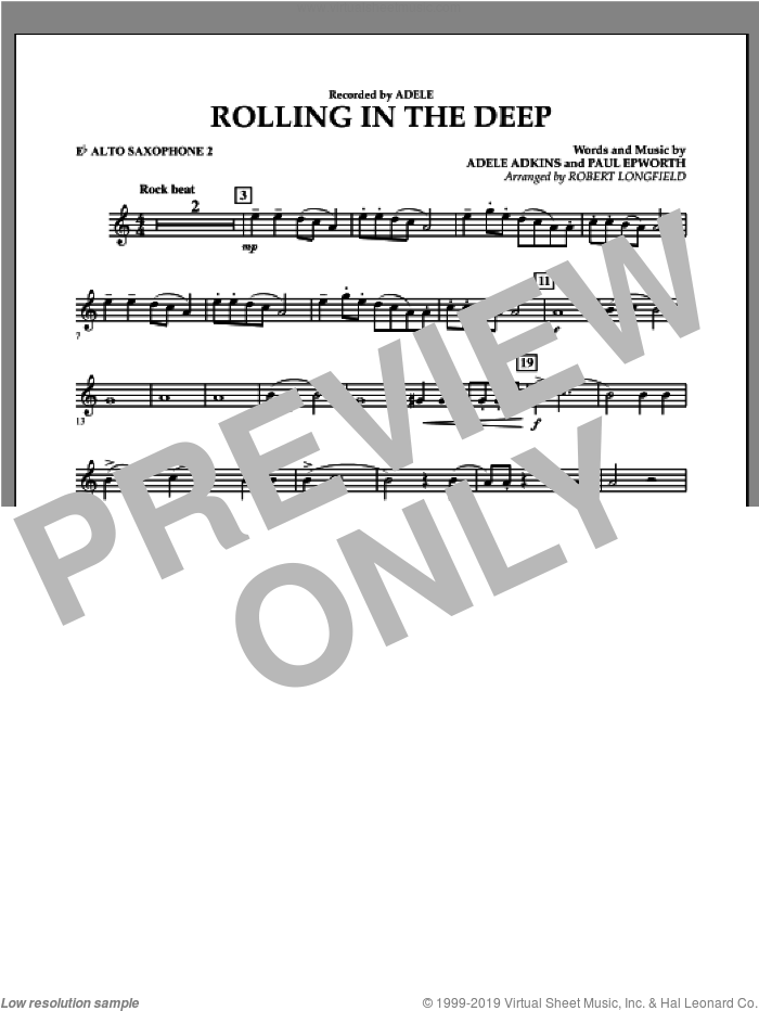 Rolling in the Deep sheet music for concert band (Eb alto saxophone 2) by Paul Epworth