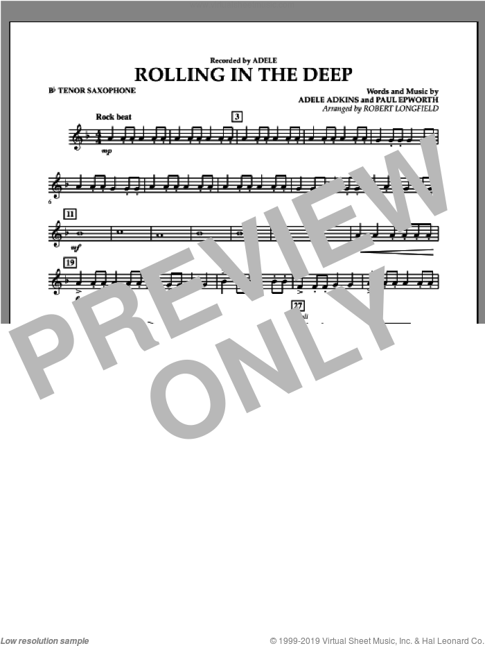 Rolling in the Deep sheet music for concert band (Bb tenor saxophone) by Adele, Paul Epworth and Robert Longfield. Score Image Preview.