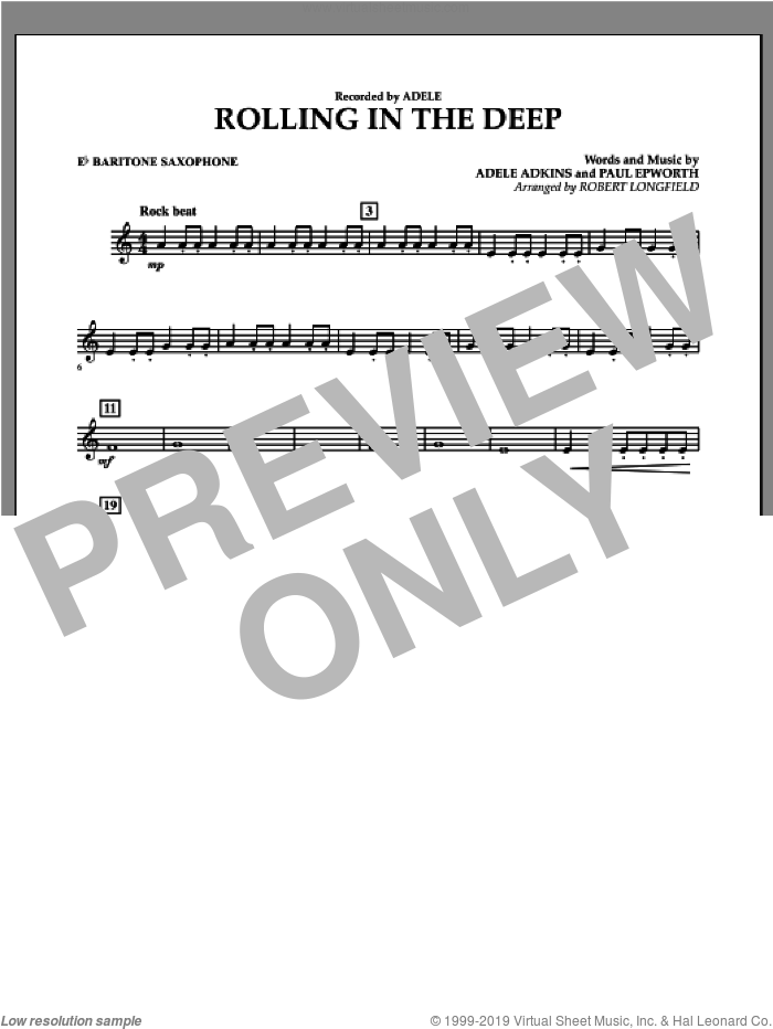 Rolling in the Deep sheet music for concert band (Eb baritone saxophone) by Paul Epworth